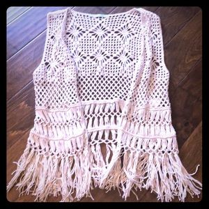 Beautiful crochet vest- cream color